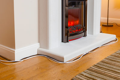 Fireplace cable cord tidy